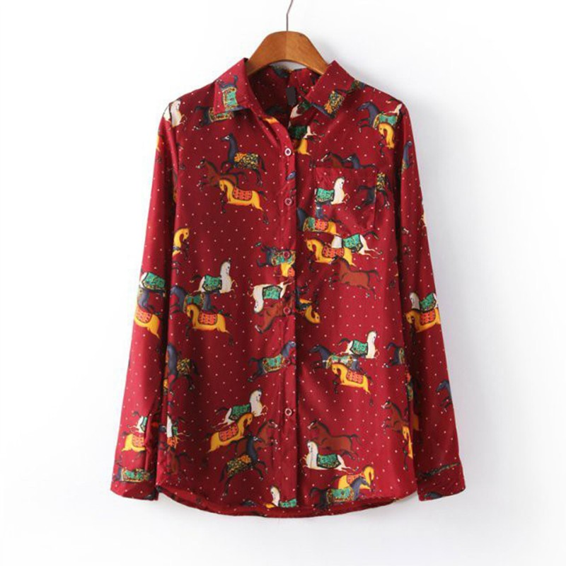 Women Long Sleeve Horse Printed Shirts