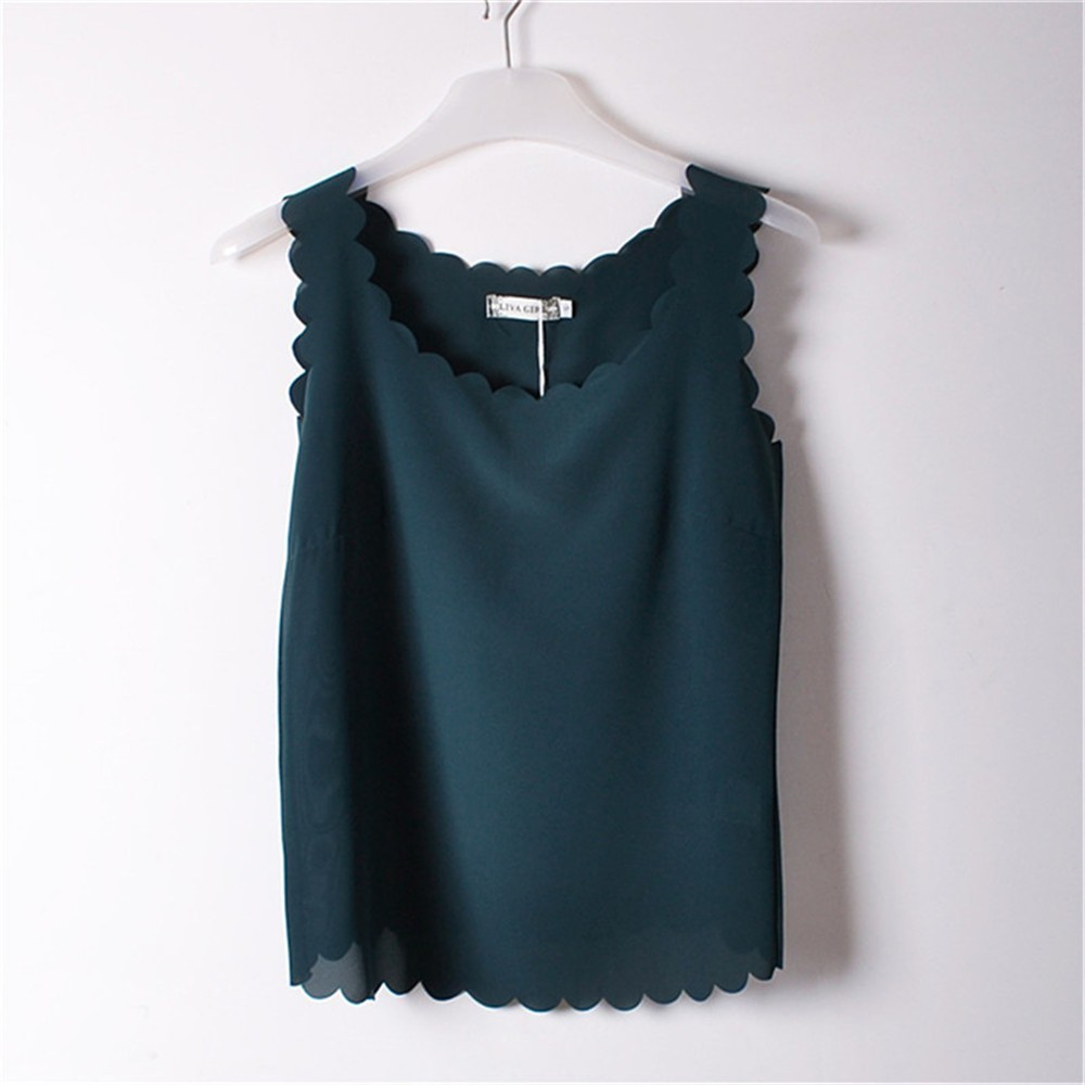 Womens Chiffon O Neck Sleeveless Tshirts