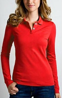 Womens Cotton Long Sleeve Polo Shirts