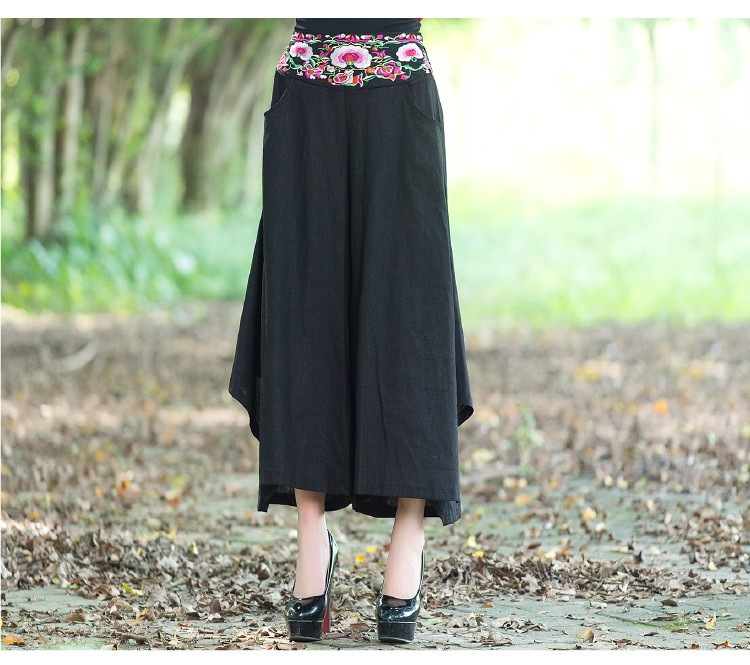 Womens Embroidery Leisure Wide Leg Trousers