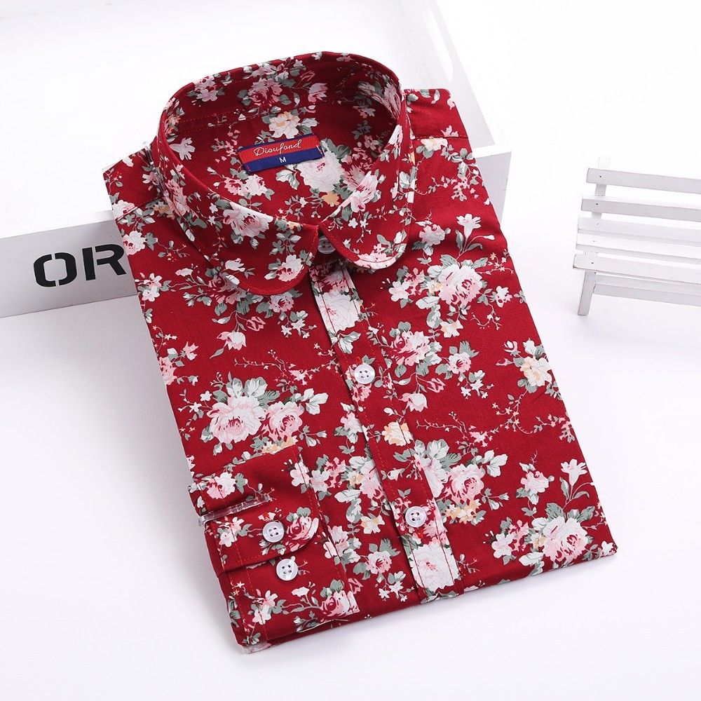 Womens Floral Print Long Sleeve Casual Shirts