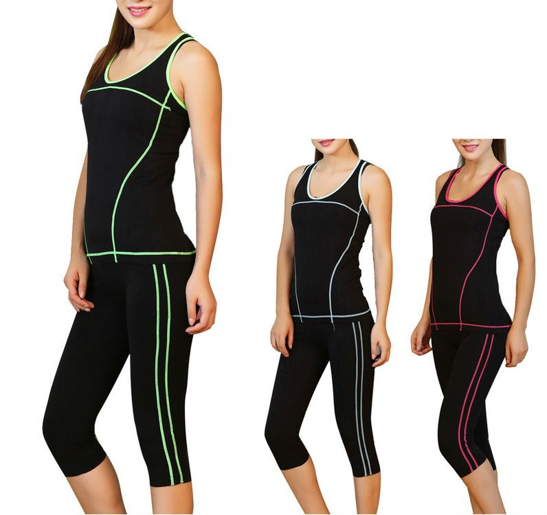 Womens Nylon Elasticity Yoga Fitness Suit