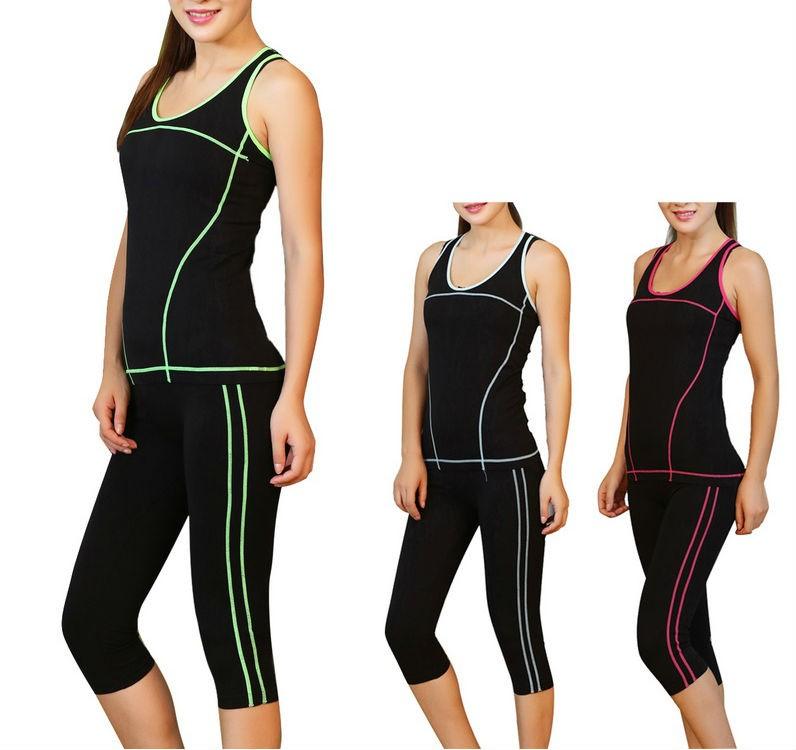 Womens Nylon Elasticity Yoga Fitness Suit