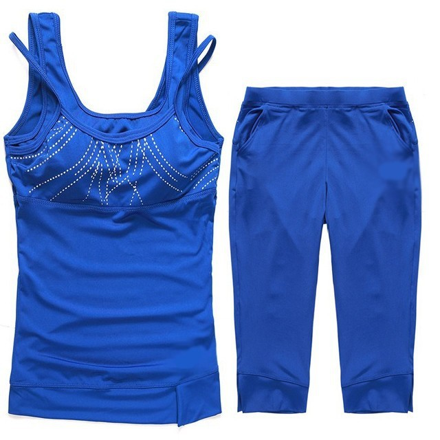 Womens Polyester Floral Sleeveless Fitness Sets