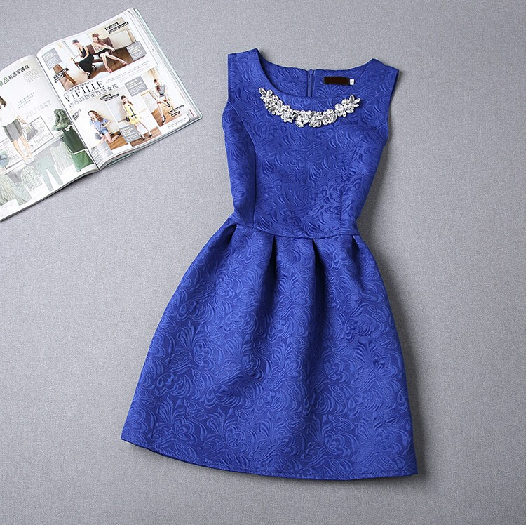 Womens Sleeveless Solid O-neck Dresses