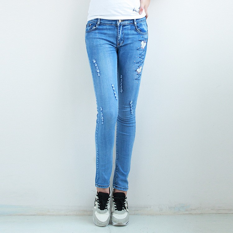 Womens Stretch Slim Fit Ripped Denim Jeans