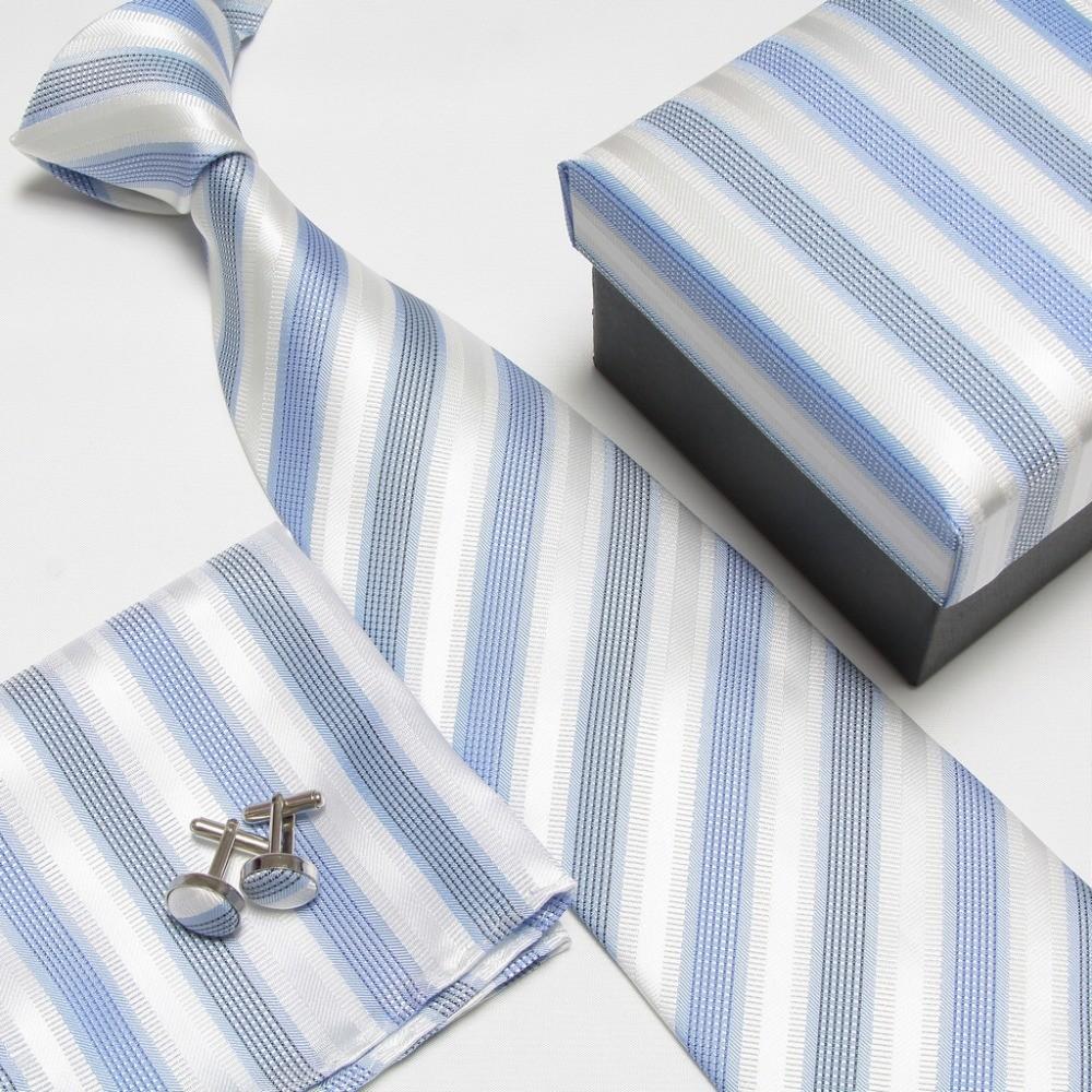 100 Silk Striped Pattern Mens Necktie Sets Creative India