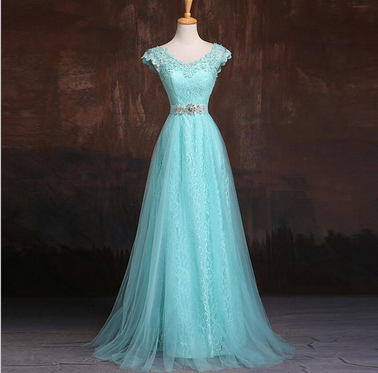 Elegant Long Beautiful V Neck Dresses