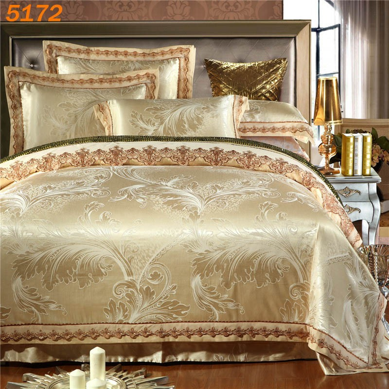 Jacquard Beige Colors Bedding Sets Creative India Exports