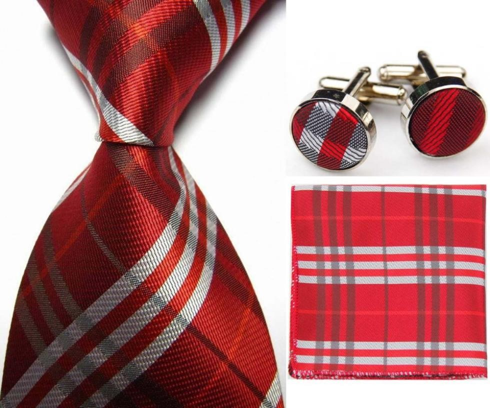 Mens Check Pattern Silk Business Tie Sets Creative India