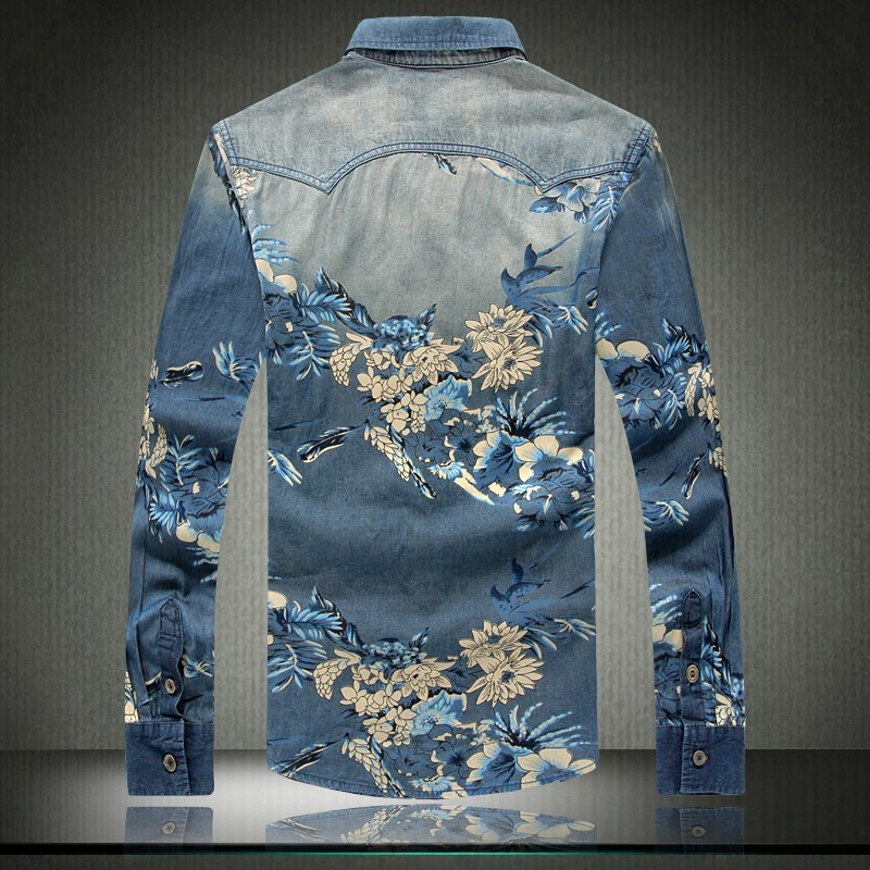 Mens Flower Print Slim Fit Casual Shirts Creative India