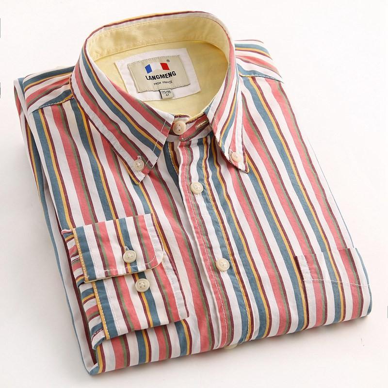 0e9565900 Mens Long Sleeve Cotton Striped Shirts Creative India Exports