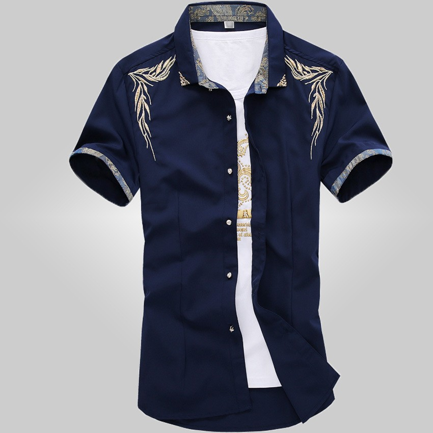 Mens short sleeved casual slim fit shirts creative india for Short sleeve casual shirt