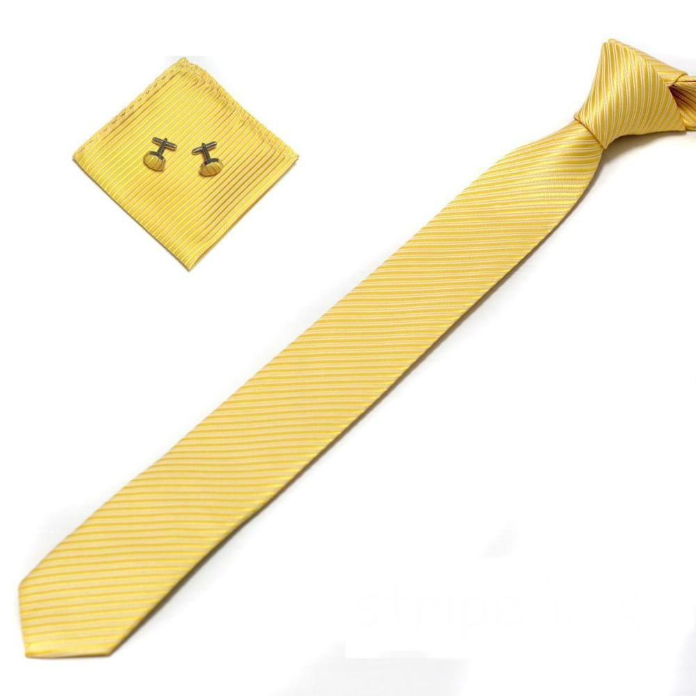 Mens Slim Necktie,Hanky & Cufflinks Sets