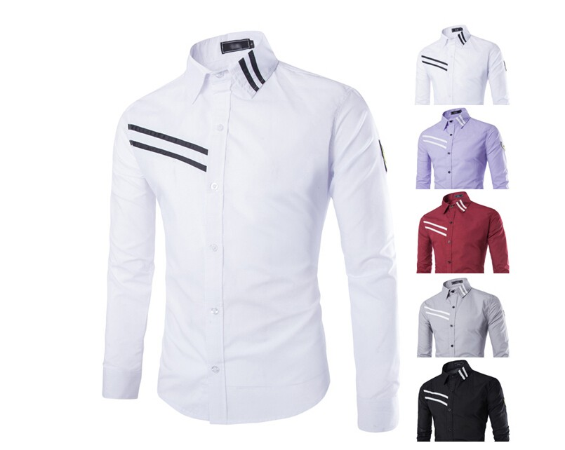 Mens Solid Casual Slim Fit Long Sleeve Shirts Creative