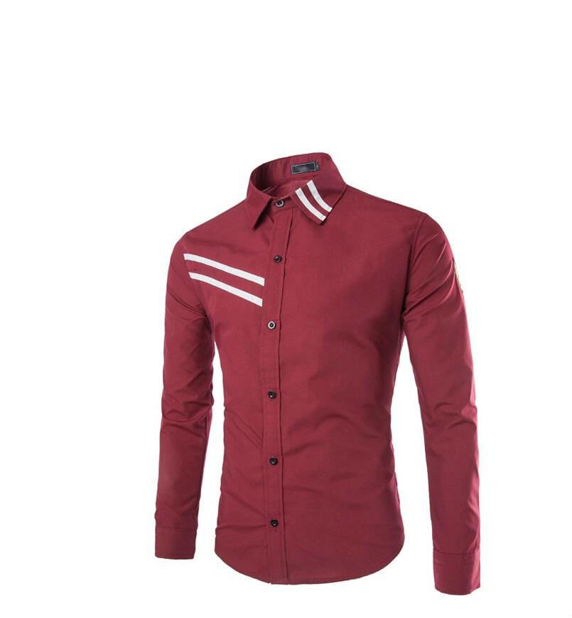 Mens solid casual slim fit long sleeve shirts creative for Mens slim fit long sleeve shirts