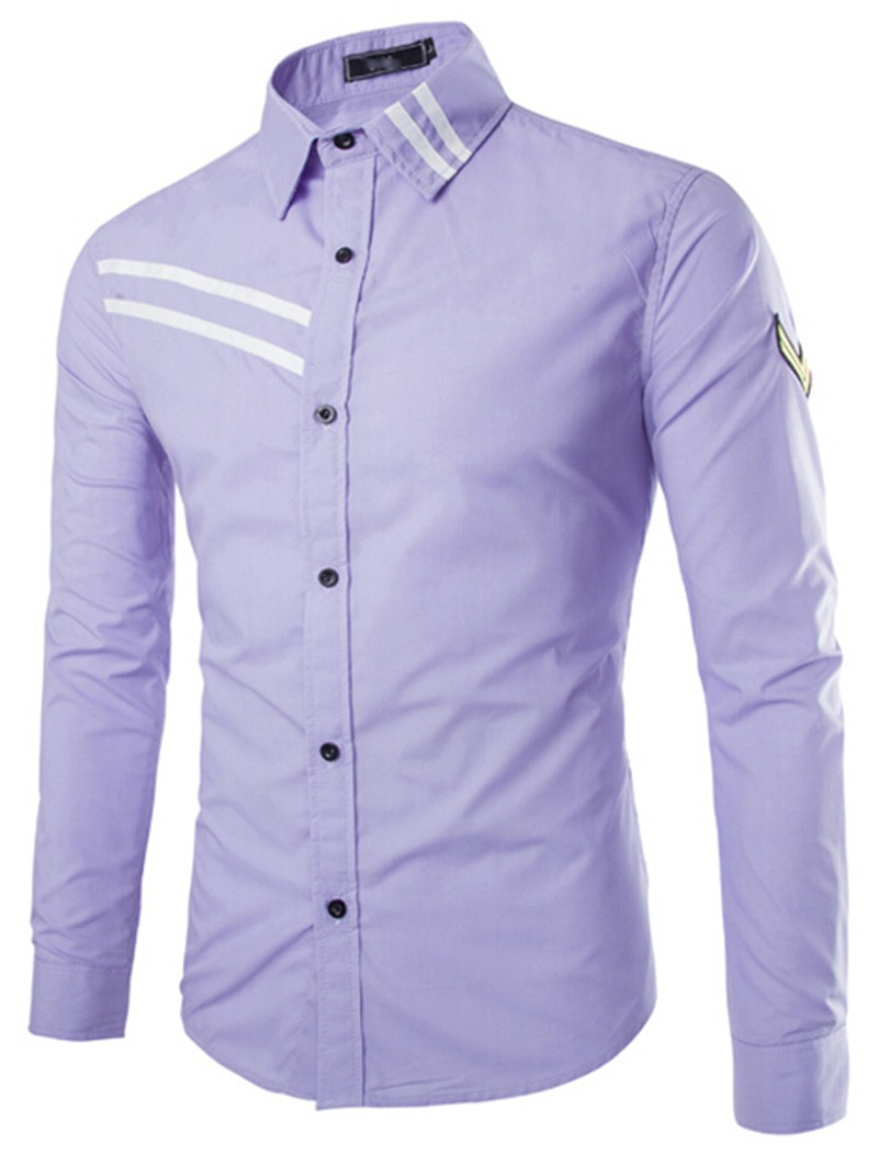 Mens solid casual slim fit long sleeve shirts creative for Long sleeved casual shirts