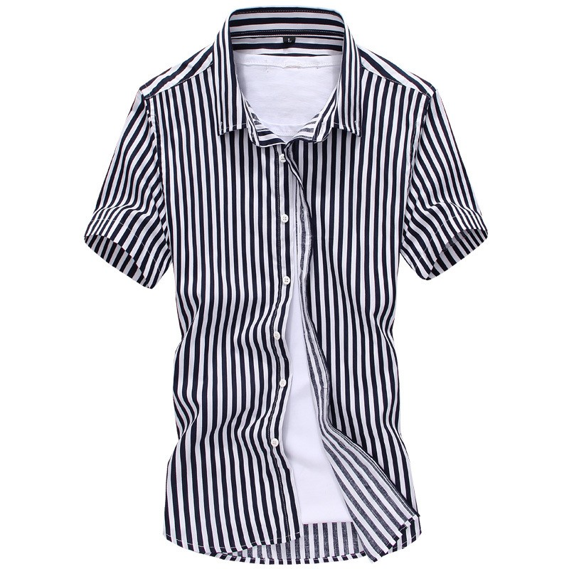 Mens Striped Short Sleeve Cotton Shirts Creative India Exports