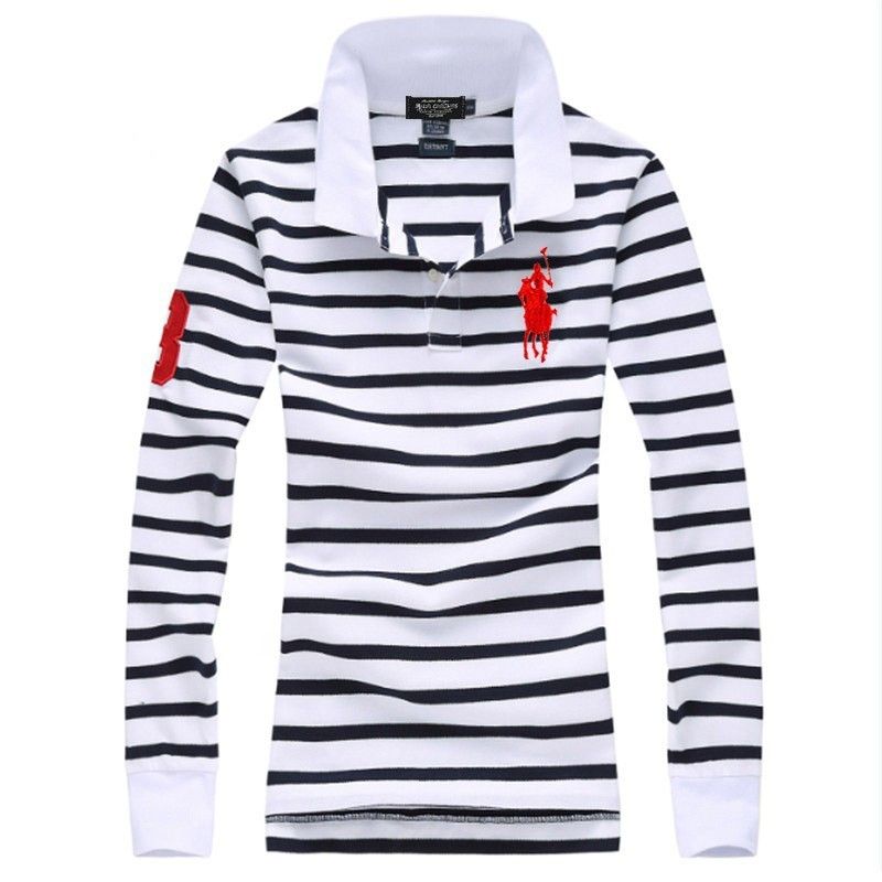 Womens Casual Stripe Cotton Long Sleeve Polo Shirts Creative