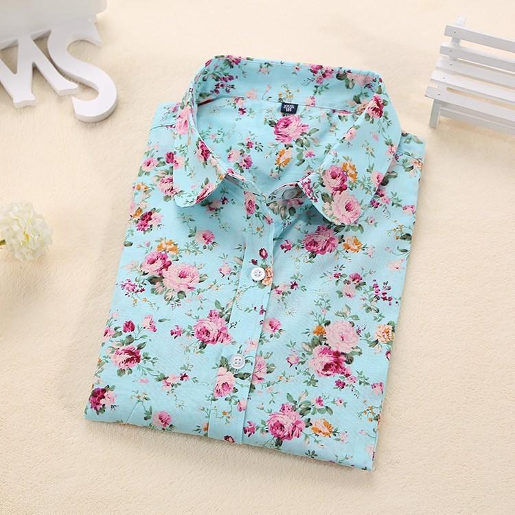 Womens Floral Print Long Sleeve Casual Shirts Creative
