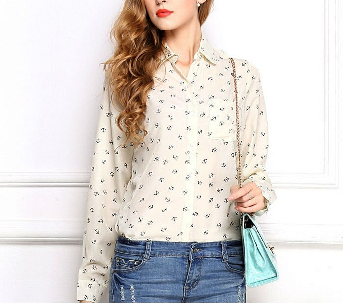 Womens Long Sleeve Loose Printed Shirts Creative India Exports