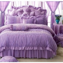 100% Cotton Royal Lace Edge Ruffled Comforter Sets - 1