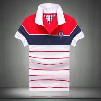100% Cotton Short Sleeve Striped Polos