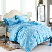 100% Polyester Blue Tree Print Comforter Sets