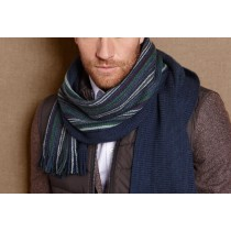 Male Striped Vintage Cashmere Scarves Men Fashion Warm Long Blue Neck Knitted