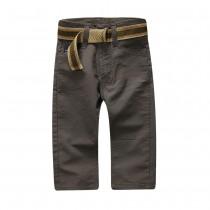 Boys 100% Cotton Solid Khaki Pant