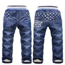 Boys Geometric Pattern Warm Jeans