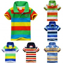 Boys Striped Cotton Polo T-shirts