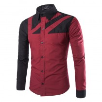 Casual Slim Fit Mens Patchwork Long-Sleeve Shirts