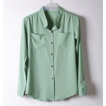 Chiffon Womens Solid Fashion Casual Shirts