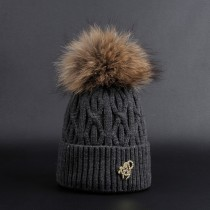 Colorful Fur Pom Pom Women Fashion Caps