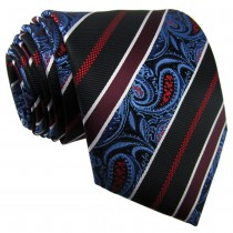 Extra Long Stripes Paisley Jacquard Men Tie