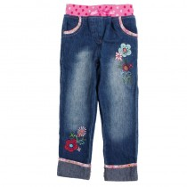 Girls New Fashion Printed Flower Jeans