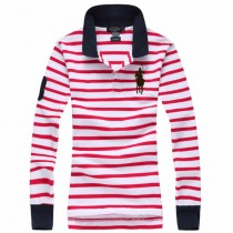 High Quality Casual Stripe Womens Polo Tshirts