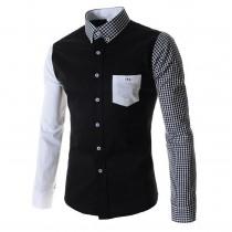 Mens Black Casual Slim Fit Long Sleeved Shirt