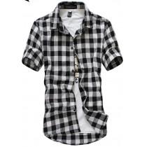 Mens Classic Plaid Short-Sleeved Shirts