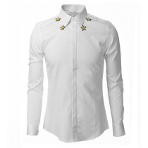 Mens Embroidery Slim Fit Long Sleeve Shirts