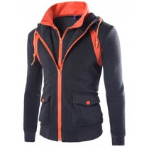 Mens Fashion Zippers Overcoat Sweatshirts