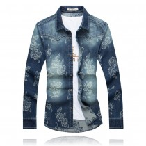 Mens Flower Print Slim Fit Casual Shirts