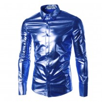 Mens Long Sleeve Slim Fit Shiny Shirts