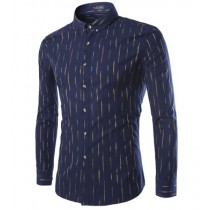 Mens Long Sleeve Slim Fit Striped Cotton Shirts