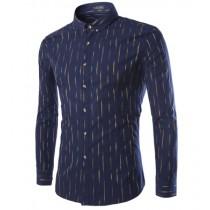 Mens Long Sleeve Slim Fit Striped Cotton Shirts