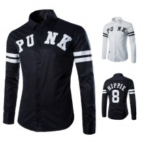 Mens Long Sleeved Black And White Shirts