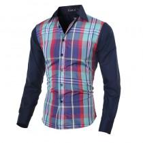 Mens New Arrival Plaid Slim Fit Long Sleeve Shirts