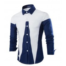 Mens New Fashion Patchwork Slim Fit Shirts