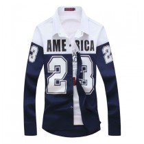 Mens New Long Sleeve Patchwork Letter Shirts